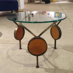 Round Metal and Glass Small Table