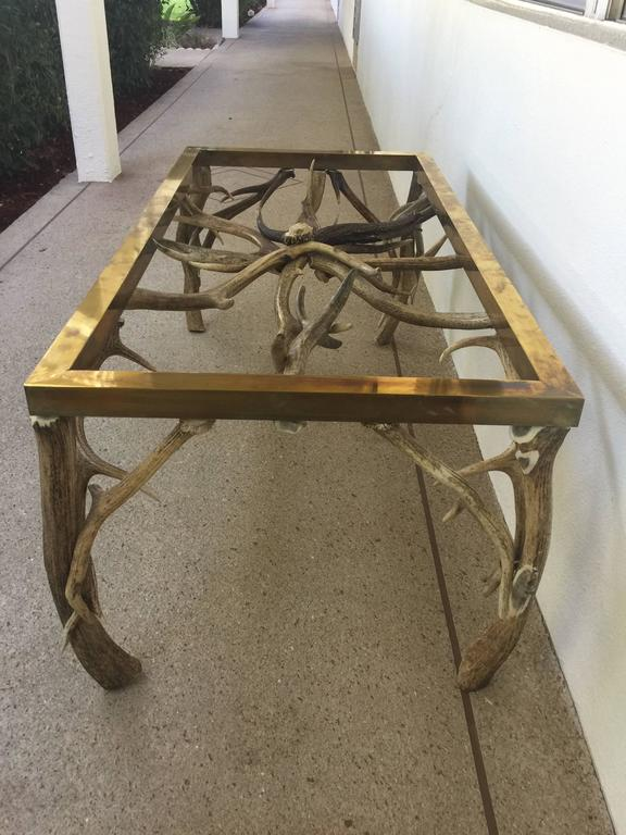 Carved Horn/Brass Coffee Table atteibuted to Anthony Redmile For Sale