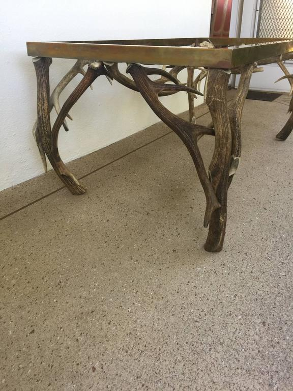 Antler Horn/Brass Coffee Table atteibuted to Anthony Redmile For Sale