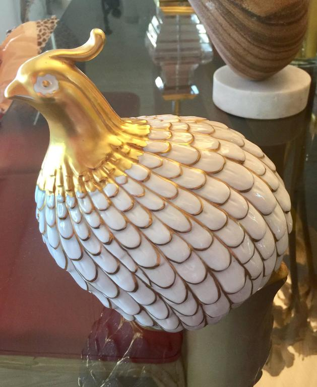 Italian Porcelain Quail by Manifattura Artistica Porcellane For Sale