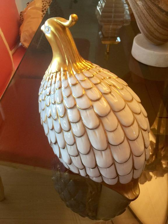 Glazed Porcelain Quail by Manifattura Artistica Porcellane For Sale