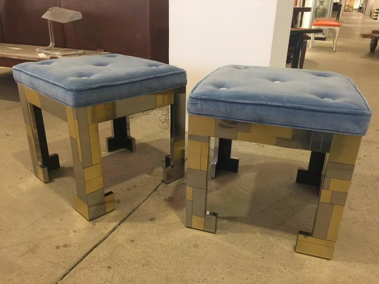 American Pair of Paul Evans Style Stools For Sale