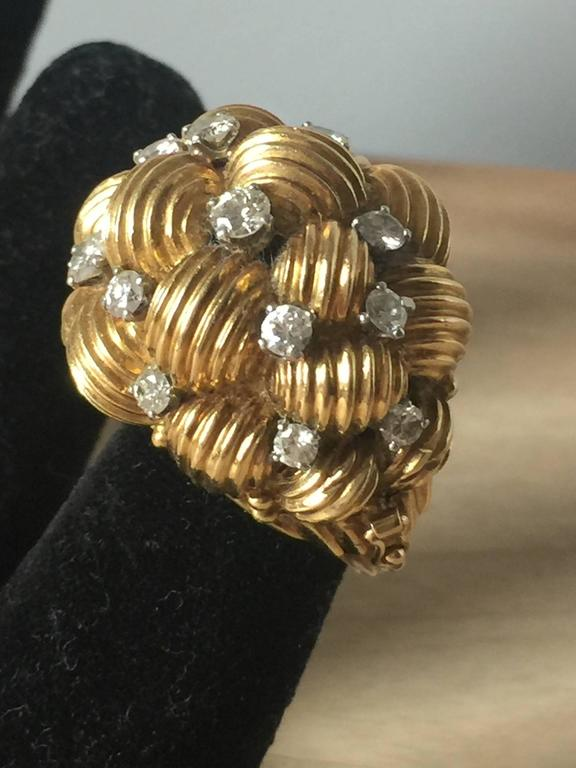 Diamond and Gold Cocktail Ring 5