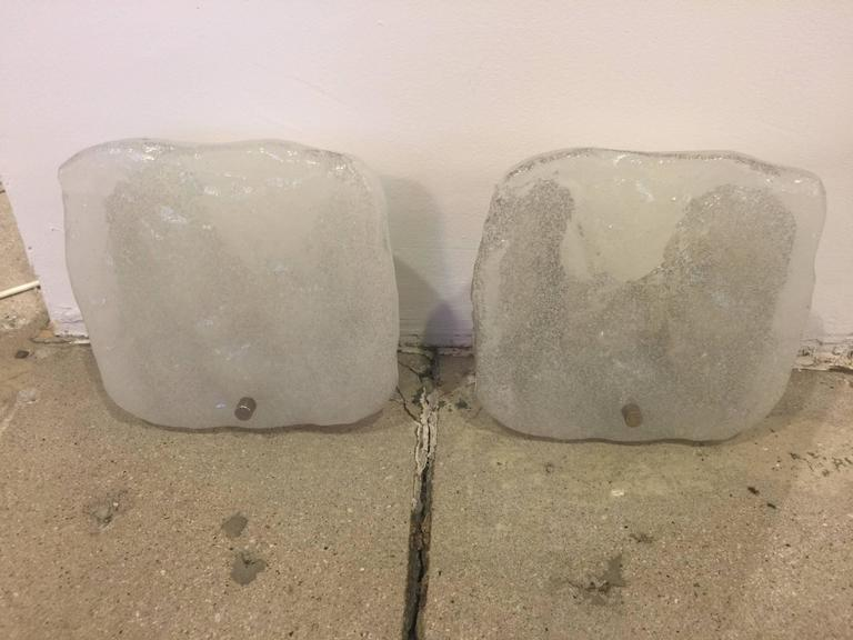 Mid-Century Modern Pair of Italian Glass Sconces For Sale