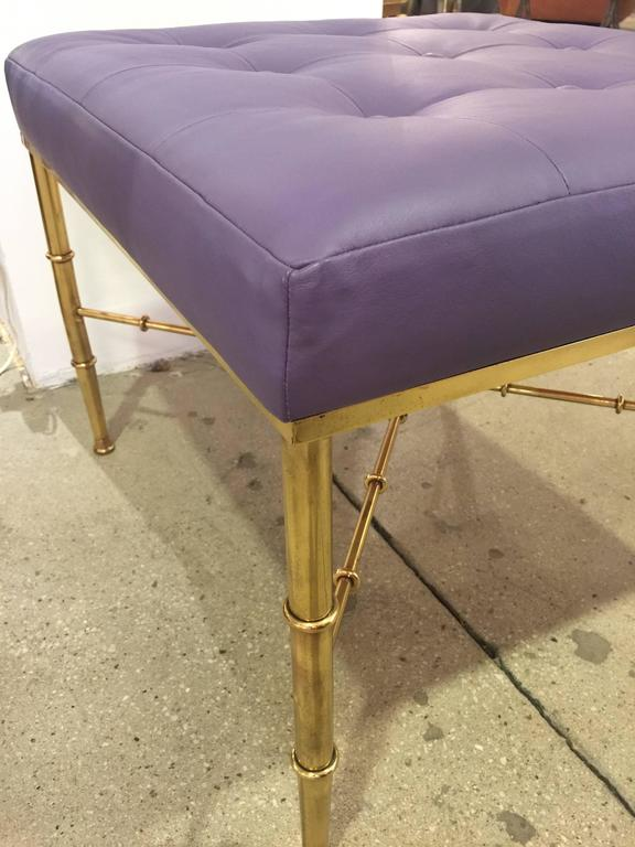 Brass Faux Bamboo Bench In Good Condition For Sale In North Miami, FL
