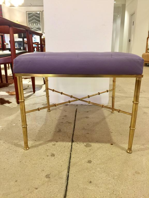 Mid-Century Modern Brass Faux Bamboo Bench For Sale