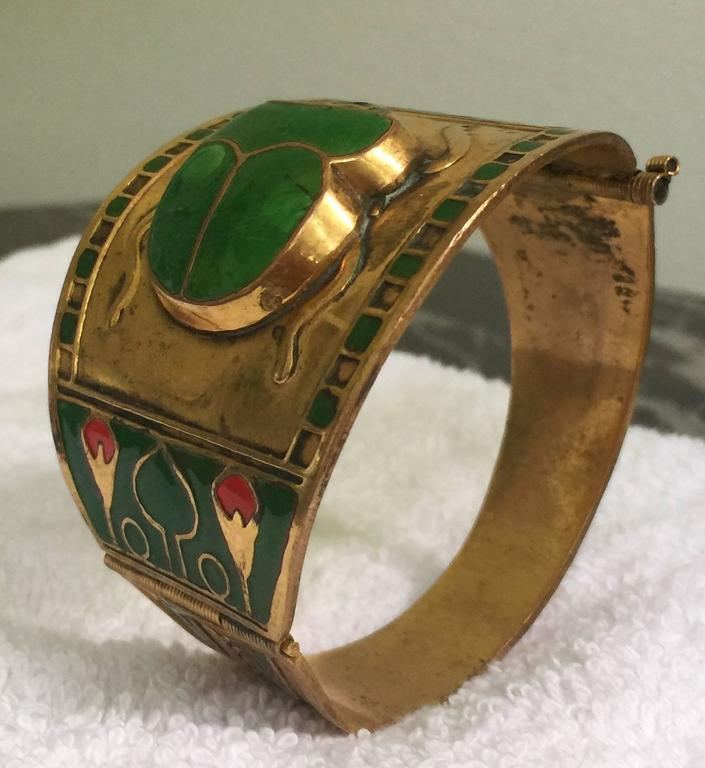 Unknown Egyptian Revival Brass or Enamel Scarab Cuff Bracelet For Sale