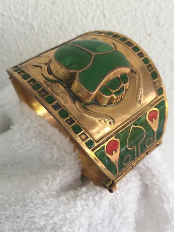 Egyptian Revival Brass or Enamel Scarab Cuff Bracelet For Sale 2