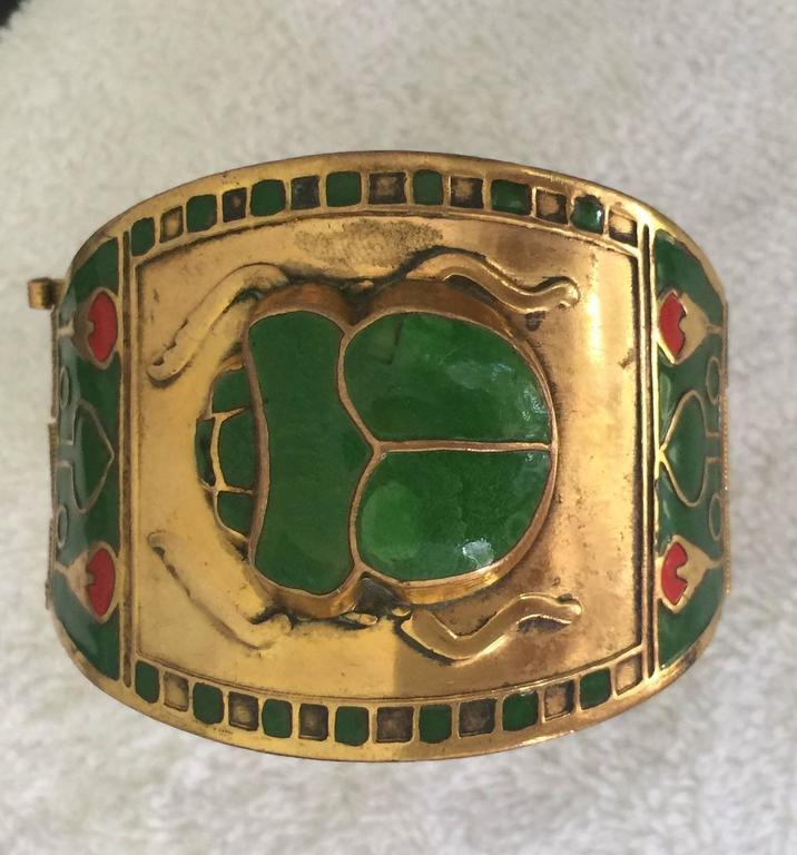 Egyptian Revival Brass or Enamel Scarab Cuff Bracelet For Sale 3