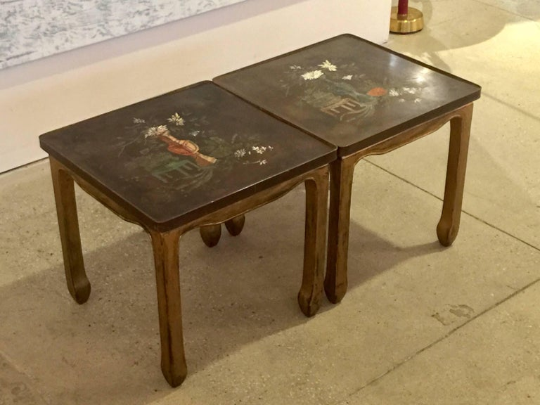 Hollywood Regency Pair of Philip and Kelvin LaVerne Tables For Sale