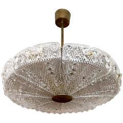 0rrefors Swedish Carl Fagerlund, 1950s Glass Pendant Chandelier