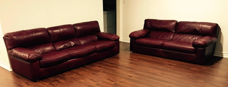Roche Bobois French 1980s Oxblood Leather Sofa At 1stdibs