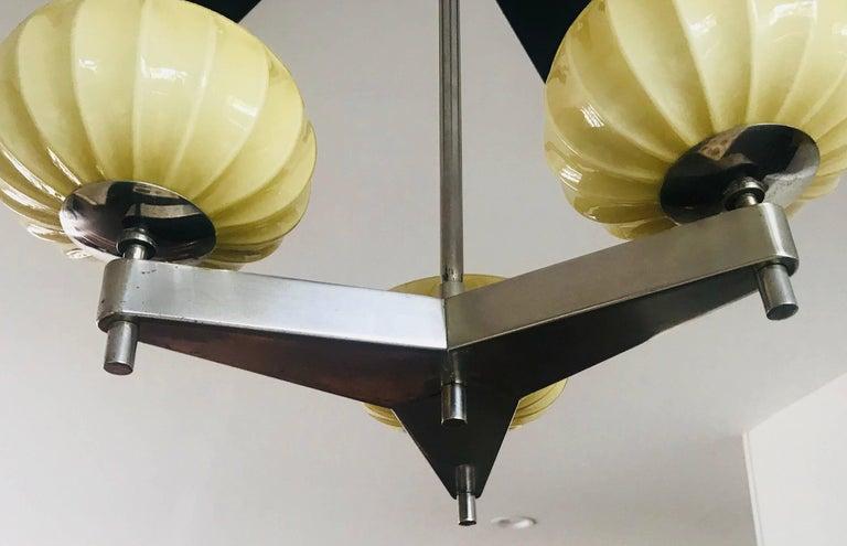 Mid-Century Modern Zukov Czech Bauhaus Cubist Deco Pendant Chandelier For Sale