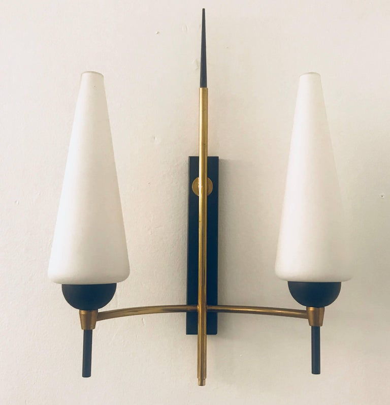 Mid-Century Modern Pair of French Lunel, 1960s Midcentury Wall Lights For Sale