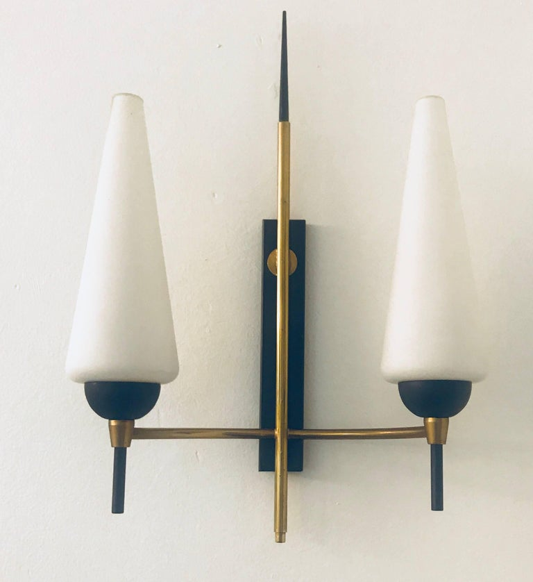 Mid-20th Century Pair of French Lunel, 1960s Midcentury Wall Lights For Sale