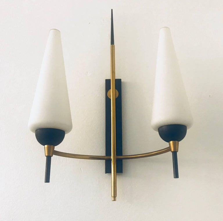 Pair of French Lunel, 1960s Midcentury Wall Lights For Sale 2