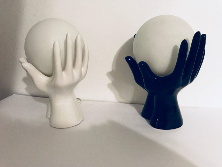 Mid-Century Modern French 1960s Ceramic Hand Table Wall Lamps For Sale