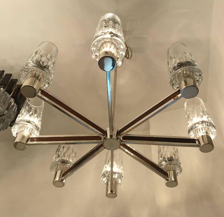 Mid-Century Modern German High Style, 1970s Crystal Chandelier For Sale