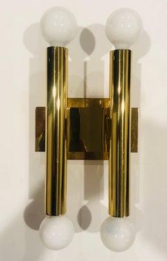 Pair of Sciolari Golden 1960s Wall Lights
