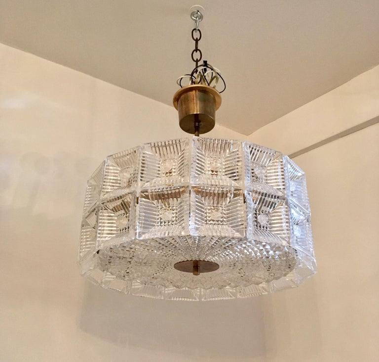 Mid-Century Modern Orrefors Carl Fagerlund 1960s Crystal Flush Chandelier Pendant For Sale