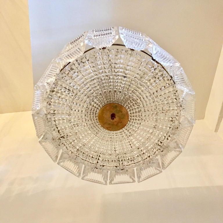 Swedish Orrefors Carl Fagerlund 1960s Crystal Flush Chandelier Pendant For Sale