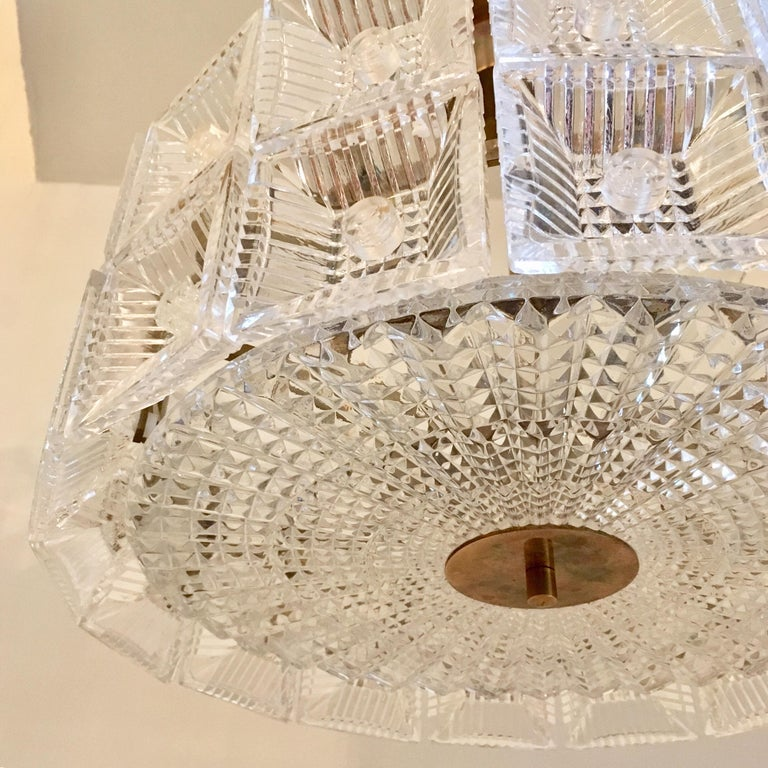 Orrefors Carl Fagerlund 1960s Crystal Flush Chandelier Pendant In Excellent Condition For Sale In New York, NY