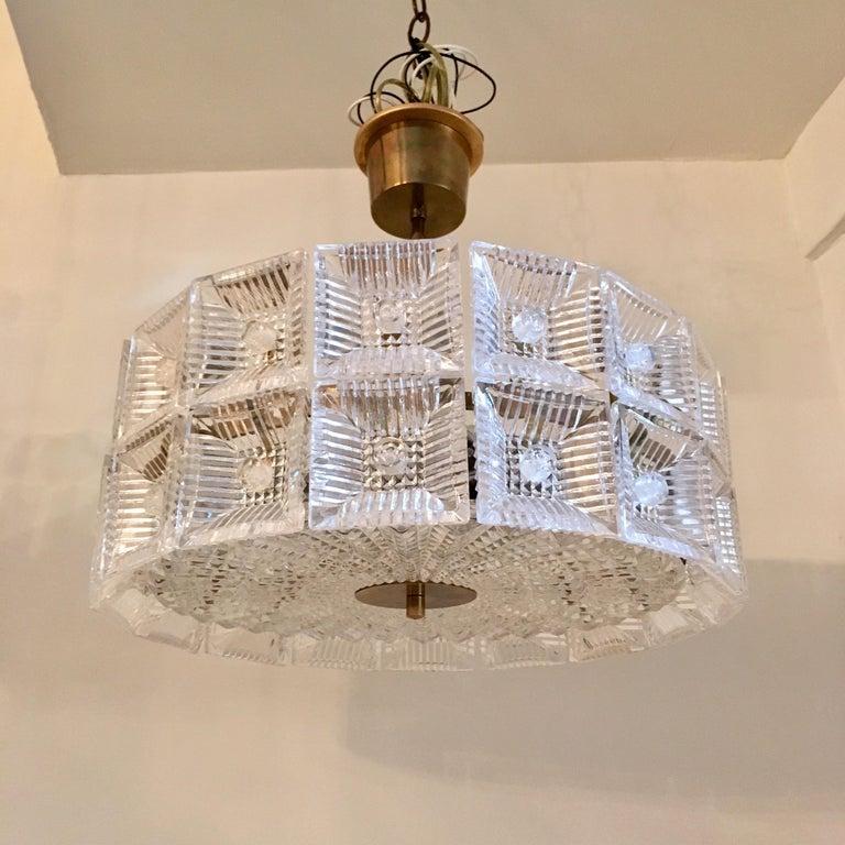 Brass Orrefors Carl Fagerlund 1960s Crystal Flush Chandelier Pendant For Sale