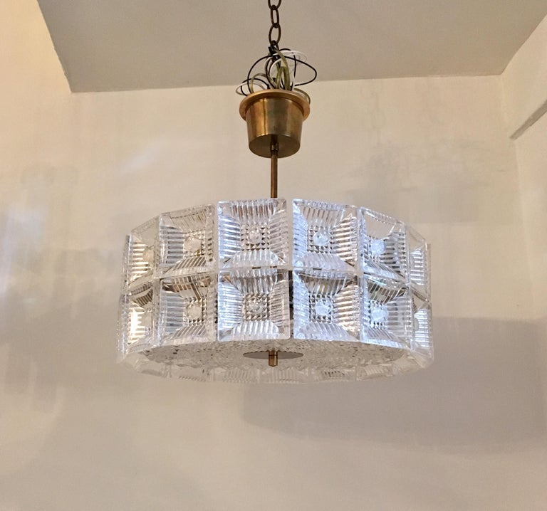 Orrefors Carl Fagerlund 1960s Crystal Flush Chandelier Pendant For Sale 1