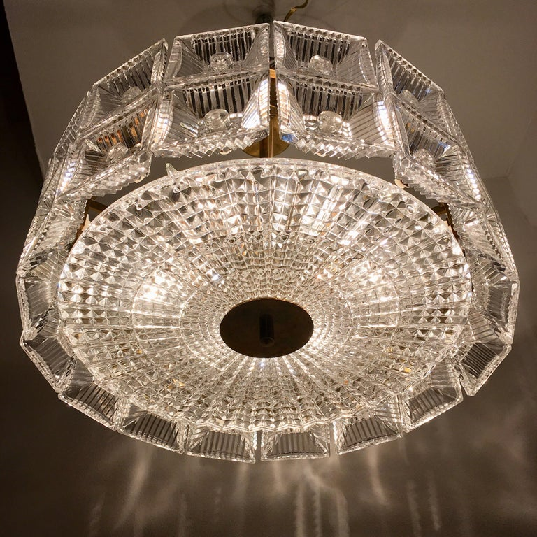 Orrefors Carl Fagerlund 1960s Crystal Flush Chandelier Pendant For Sale 3