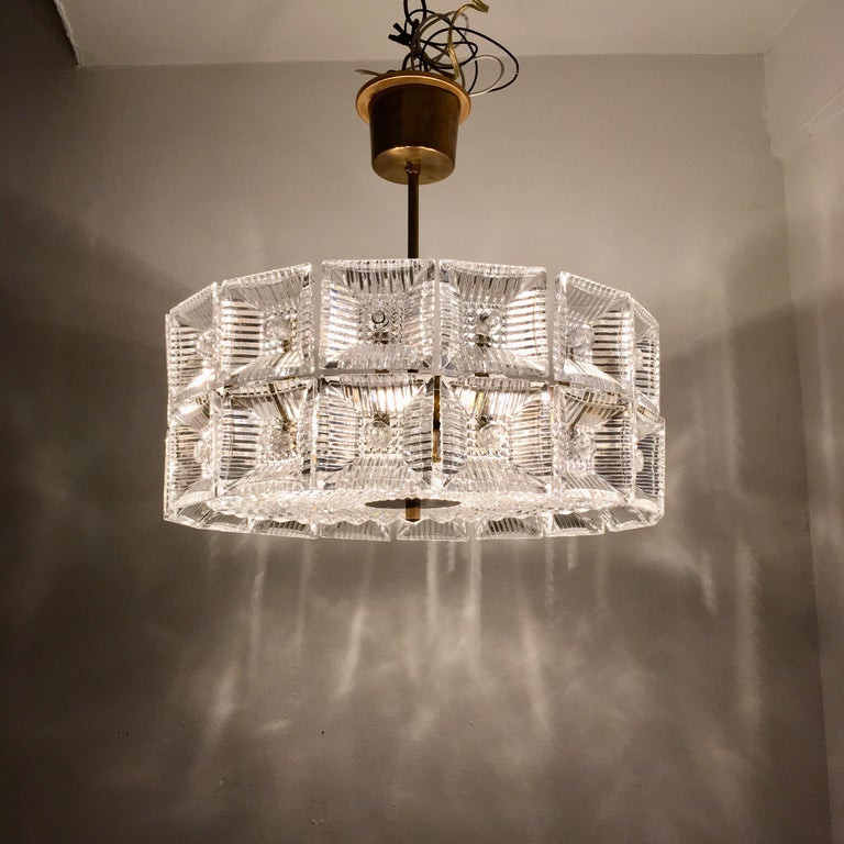 Orrefors Carl Fagerlund 1960s Crystal Flush Chandelier Pendant For Sale 4