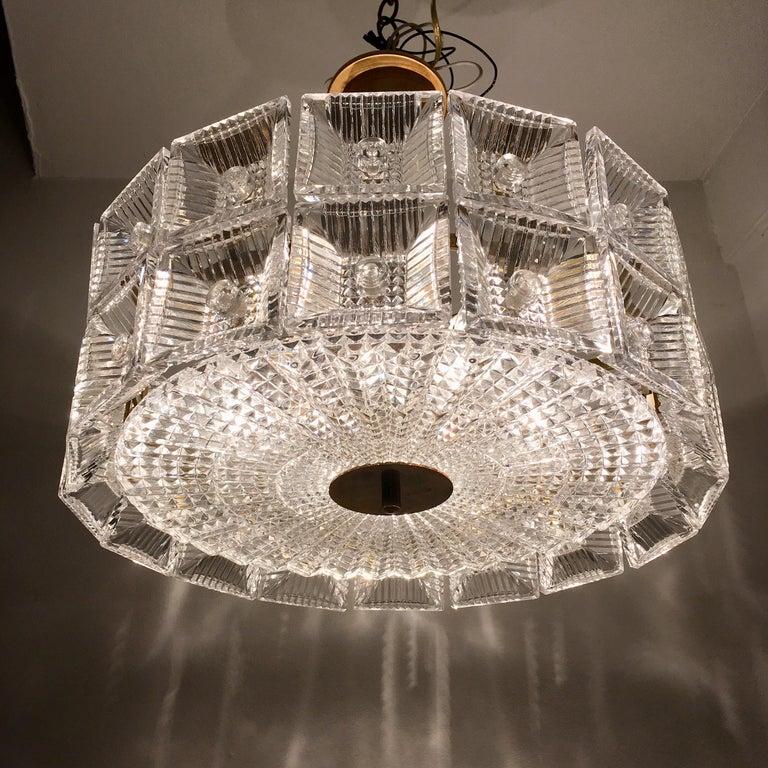Orrefors Carl Fagerlund 1960s Crystal Flush Chandelier Pendant For Sale 5