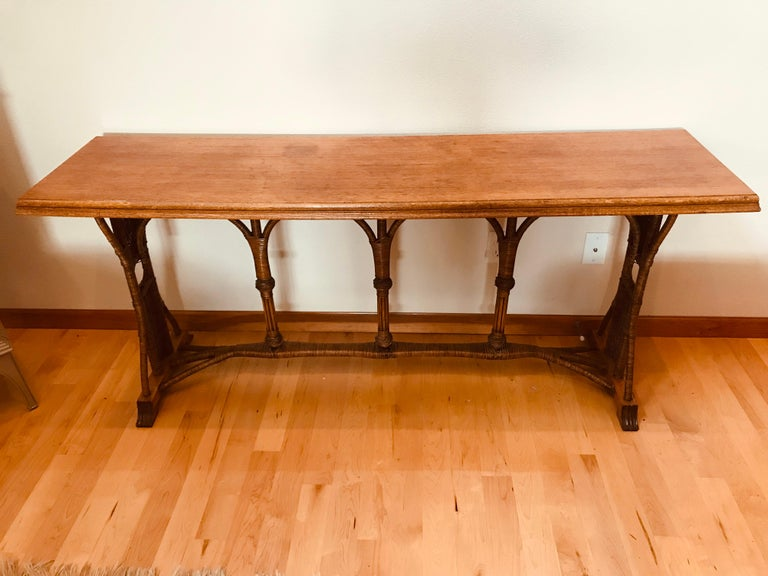 Large 1960s American Rattan Oak Console Table In Good Condition For Sale In New York, NY