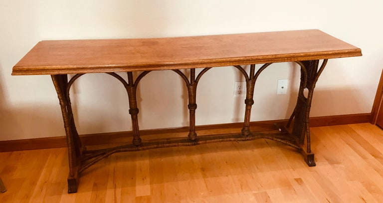 Large 1960s American Rattan Oak Console Table For Sale 7