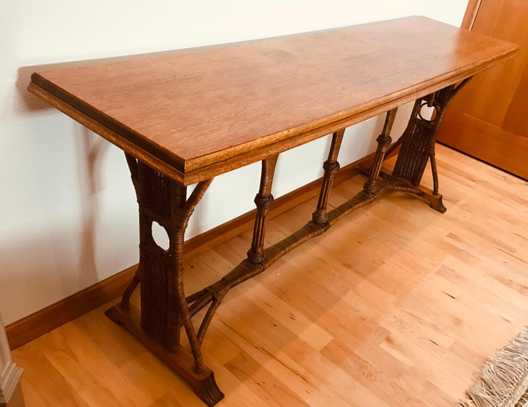 Large 1960s American Rattan Oak Console Table For Sale 10