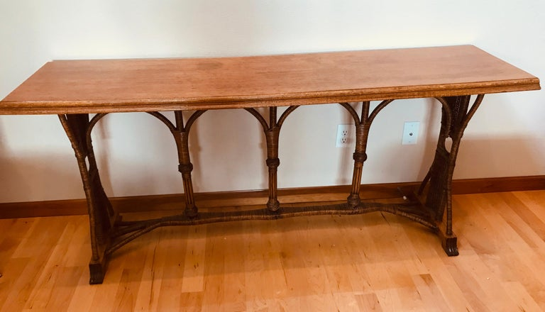 Large 1960s American Rattan Oak Console Table For Sale 11