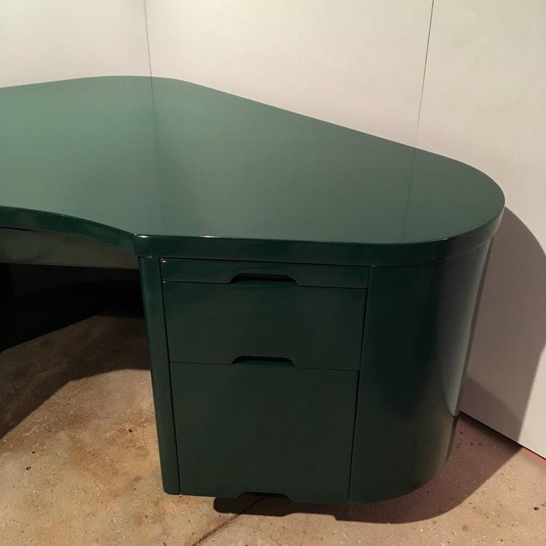 Mid-20th Century Art Deco Racing Green Fletcher Aviation Desk For Sale