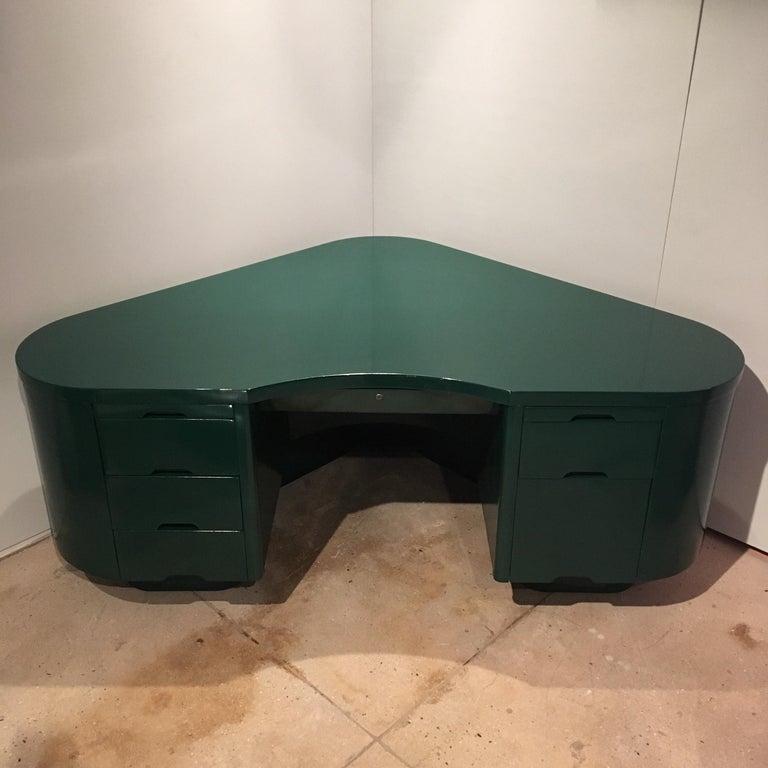 Nickel Art Deco Racing Green Fletcher Aviation Desk For Sale