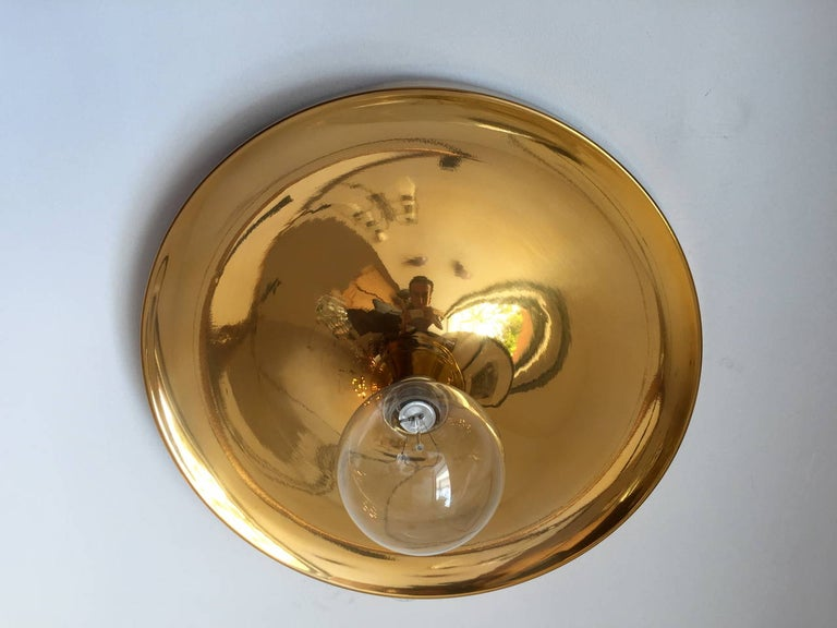 Gold Plate Pair of Large Honsel Space Age, 1960s Flush Lights Perriand For Sale