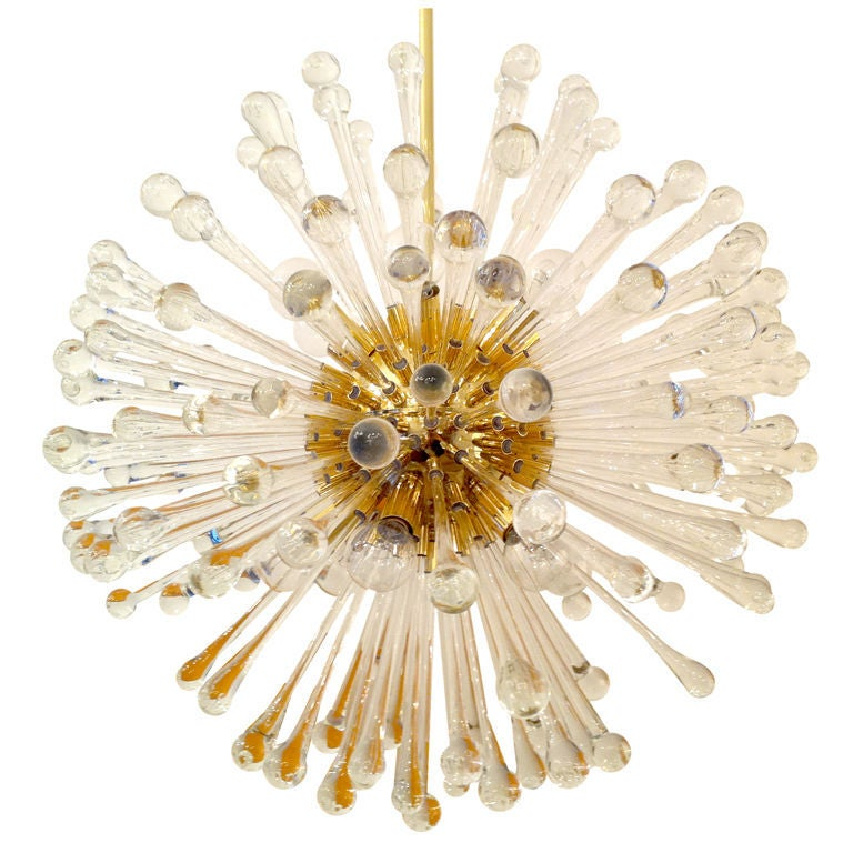 1960s Italian Murano Glass Dandelion Chandelier For Sale 1