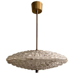 Swedish Orrefors Fagerlund Crystal Pendant Light