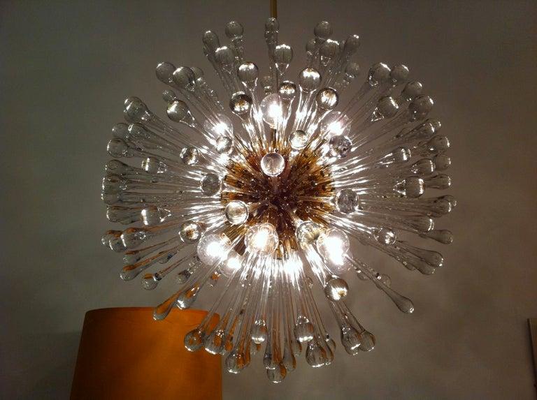 Mid-Century Modern Pair of 1960s Golden Venetian Glass Dandelion Chandeliers  For Sale