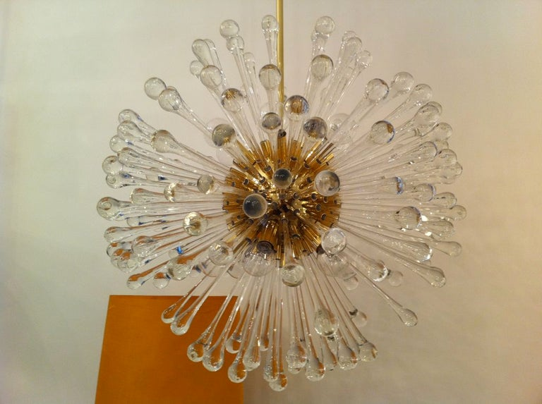 Polished Pair of 1960s Golden Venetian Glass Dandelion Chandeliers  For Sale
