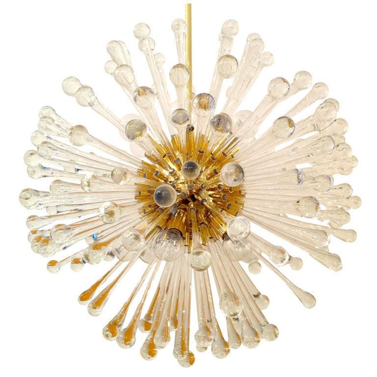 Mid-20th Century Pair of 1960s Golden Venetian Glass Dandelion Chandeliers  For Sale