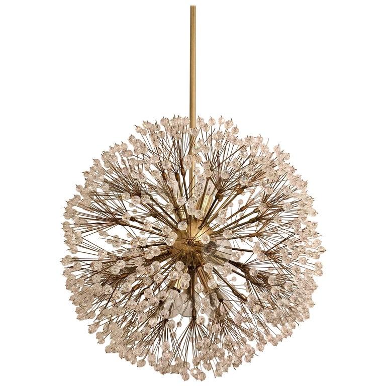 Austrian Stejnar 1960s Crystal Snowflake Pendant Chandelier For Sale