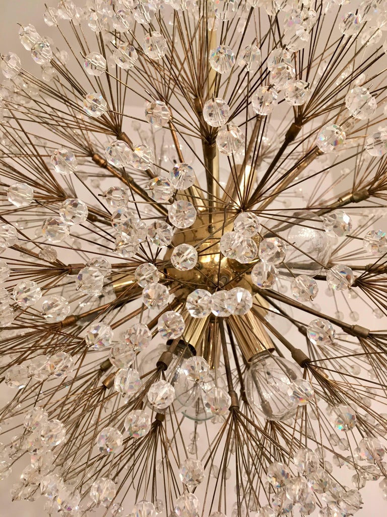 Mid-Century Modern Austrian Stejnar 1960s Crystal Snowflake Pendant Chandelier For Sale