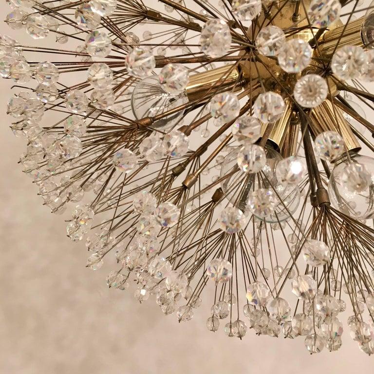 Mid-20th Century Austrian Stejnar 1960s Crystal Snowflake Pendant Chandelier For Sale