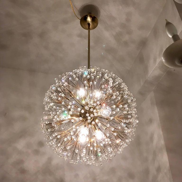 Austrian Stejnar 1960s Crystal Snowflake Pendant Chandelier For Sale 1