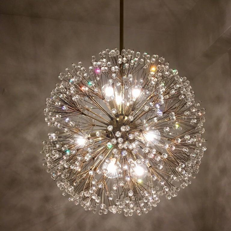 Austrian Stejnar 1960s Crystal Snowflake Pendant Chandelier For Sale 2