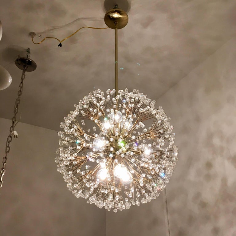 Austrian Stejnar 1960s Crystal Snowflake Pendant Chandelier For Sale 3