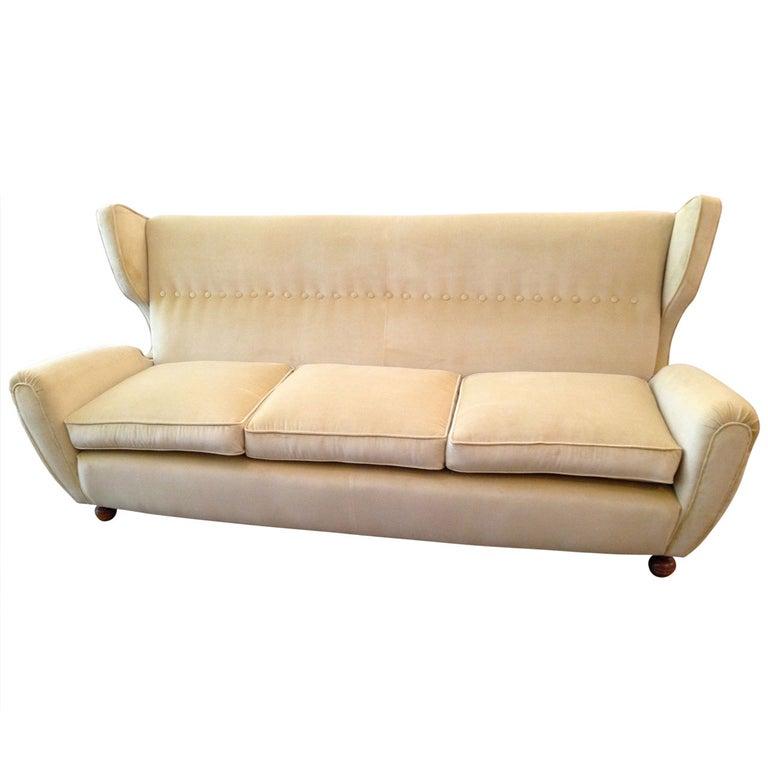 Paolo Buffa High Wing Back Three Seat Sofa For